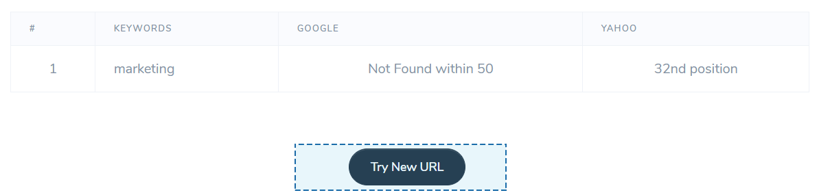keyword position checker - results and try again