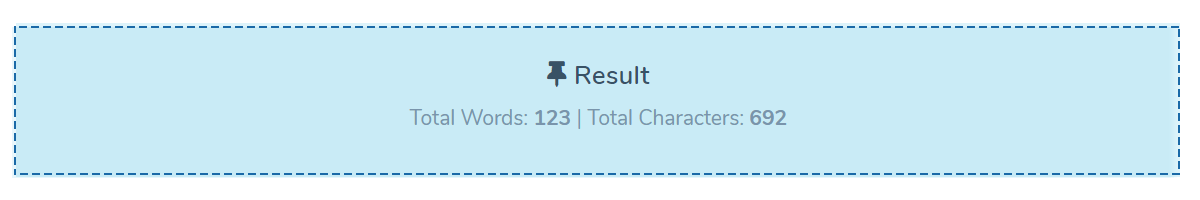 Word counter tools - results box that shows words and characters